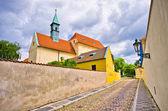 Cobblestone street near Capuchin monastery, Hradcany, Prague, Czech Republic — Stock Photo