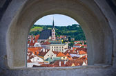 Cesky Krumlov in the stronghold wall window, Czech Republic — Stock Photo
