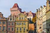 Castle and tenement houses in Poznan, Poland — Stock Photo