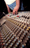 Soundman with mixing console — Stock Photo