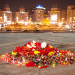 Yahrzeit candles and flowers at the Independence Square in Kiev. Ukraine — Stock Photo #64975519