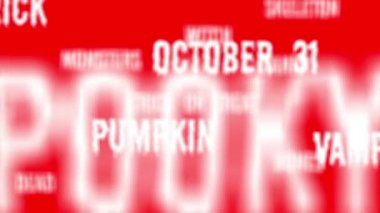 Background - Seamless loop of red Halloween words with alpha matte — Stock Video