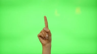 5 touchscreen gestures - female hand for transparent screen - green screen — Stock Video