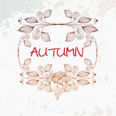 Vector vintage autumn leafs and flower background — Stockvector