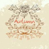 Vector vintage autumn flowers and oak leafs background — Stockvector
