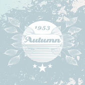 Vector vintage grune autumn leafs background — Stockvector
