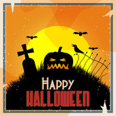 Vector retro style halloween background — Stock Vector