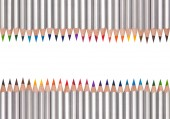 Line of colored pencils, isolated on white — Stock Photo