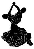 Silhouette of dancing couple — Stockvector