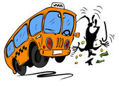Angry bus requires money from man — Stock Vector