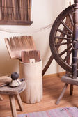 Vintage traditional spinning wheel — Stock Photo