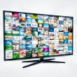 Widescreen high definition TV screen with video gallery. Televis — Stock Photo #52225705
