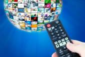 Television broadcast multimedia sphere abstract composition — Stock Photo