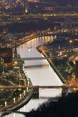 Nightfall in Bilbao, Bizkaia, Basque Country, Spain — Stock Photo