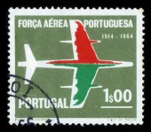 Silhouette of aircraft, 50 anniversary of portuguese Air Force — Stock Photo