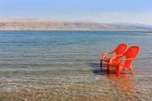 Landscape with chairs at the Dead Sea — Stock Photo