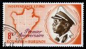 King Mwami Mwambutsa IV, map of Burundi — Stock Photo