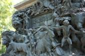 Fragment of pedestal of monument to Ivan Krylov in the Summer Garden, St Petersburg — Stock Photo