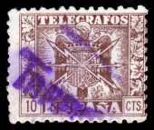 Old spanish stamp - telegrafos — Stock Photo