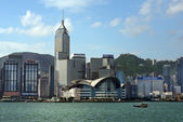 View of skyscrapers from Victoria Harbor, Hong Kong — Foto de Stock