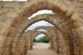 Remains of the archs in ancient city of Caesarea, Israel — Stock Photo