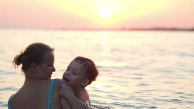 Mother And Son Swimming In Sea — Stock Video