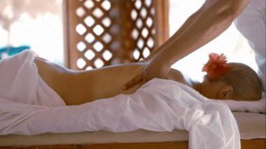 Woman getting body massage at beauty spa — Vídeo de stock