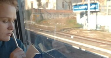Woman taking notes or drawing in train — ストックビデオ
