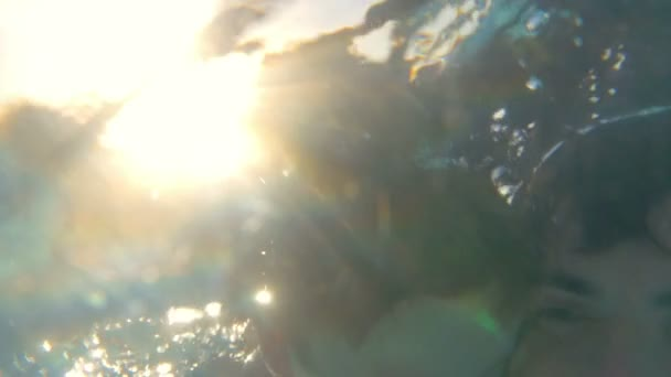 Father teaching son to dive in the pool — Vídeo de stock