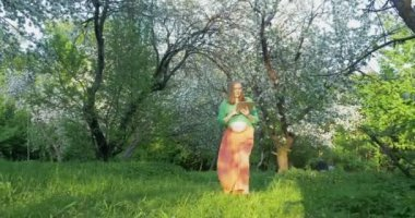 Pregnant woman with tablet PC walking in bloomy park — Stock Video
