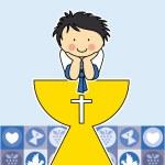 Boy First Communion card — Stock Vector #63869871