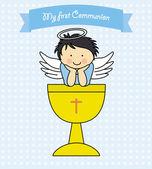 Boy First Communion card — Vector de stock
