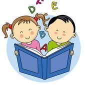 Children reading a book — Stock Vector