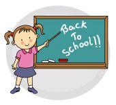 Jeune fille écrivant sur tableau noir de retour à l'école — Vecteur
