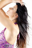 Profile of attractive woman with hair in the wind — Stock Photo