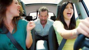 Three beautiful people shouting — Stok video