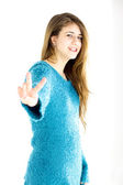 Happy female teenager victory sign isolated — Stock Photo