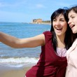 Two happy young women — Stock Photo #70593461