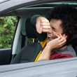 Man shouting getting into accident with car talking on the phone — Stock Photo #71883197