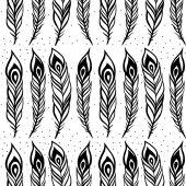 Vintage Feathers. Seamless background. — 图库矢量图片
