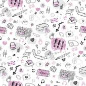 Accessories. Hand drawn seamless pattern. — 图库矢量图片