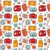 Suitcases. Seamless background. — Stock Vector