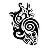Cœur décoratif. motif ethnique. — Vecteur
