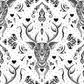 Deer head. Seamless pattern. — Stock Vector