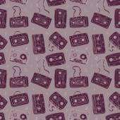 Audio cassette. Seamless pattern. — Stock Vector