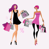 Fashion girl. Woman with shopping bags. — Stock Vector