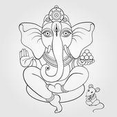 Lord Ganesha Hand drawn illustration. — Stock Vector