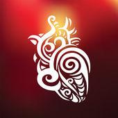 Corazón decorativo. patrón étnico. — Vector de stock