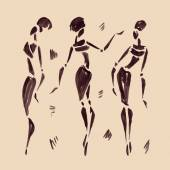 Figures of african dancers. Hand drawn Illustration. — Stock Vector