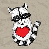 Waschbär trägt ein Herz. — Stockvektor